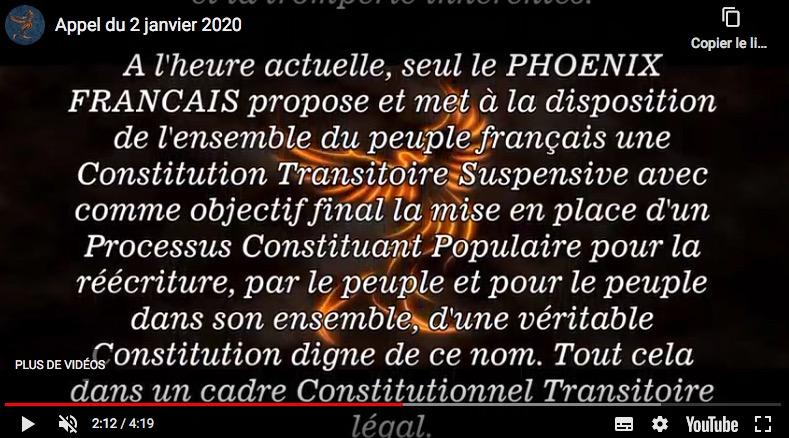 Appel du Phoenix Français 2 Janvier 2020 | Le Phoenix Français